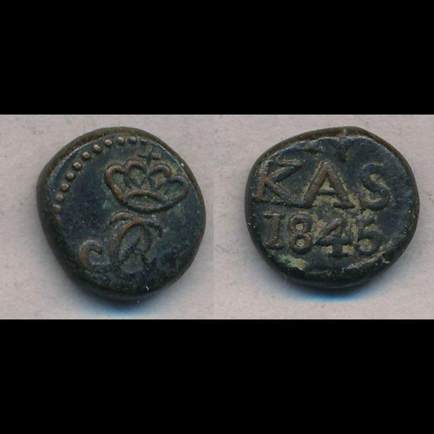 1845, Christian VIII, Trankebar, 4 kas, kobber, 1+, S91.2