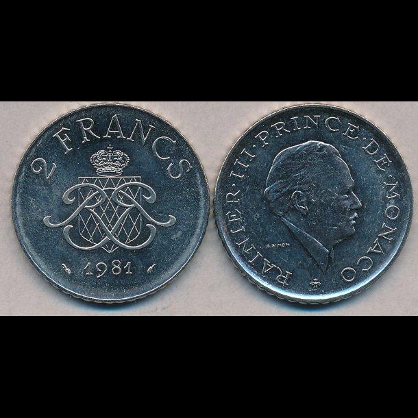 1981, Monaco, Rainier III, 2 francs