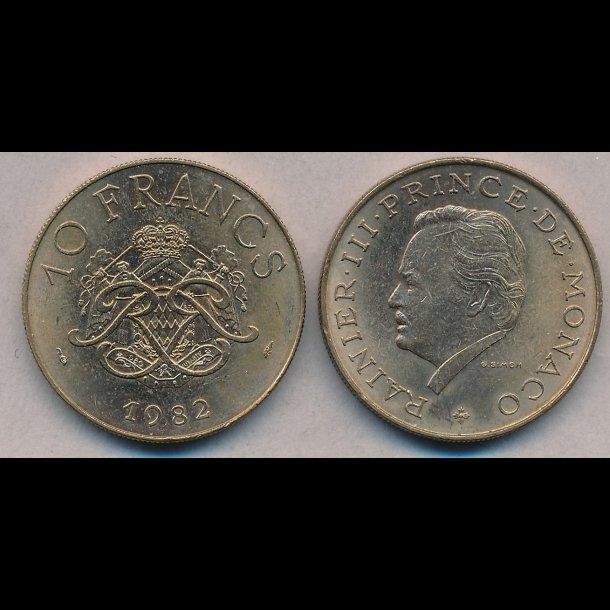 1982, Monaco, Rainier III, 10 francs