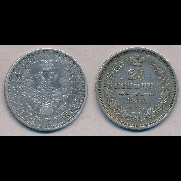 1858, Rusland, Aleksandr II, 25 kopek, 1+