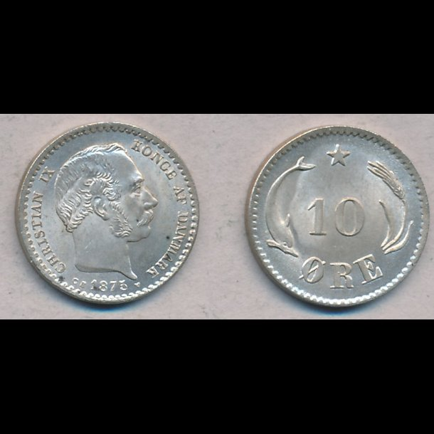 1875, Christian IX, 10 øre, sølv, 0