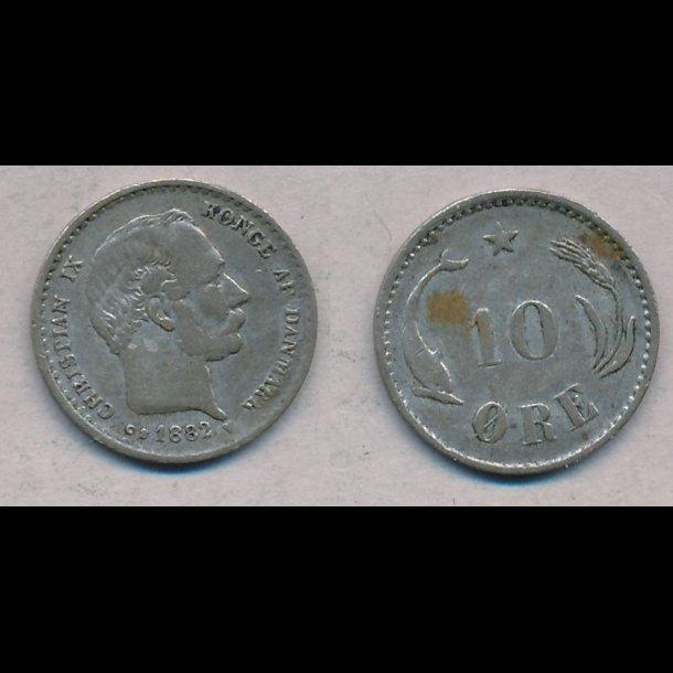 1882, Christian IX, 10 øre, sølv, 1