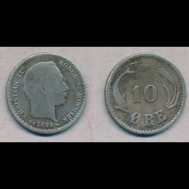 1884, Christian IX, 10 øre, sølv, 1 / 1-, lbnr 1