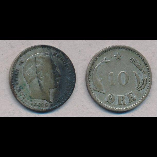 1886, Christian IX, 10 øre, sølv, 1 / 1-