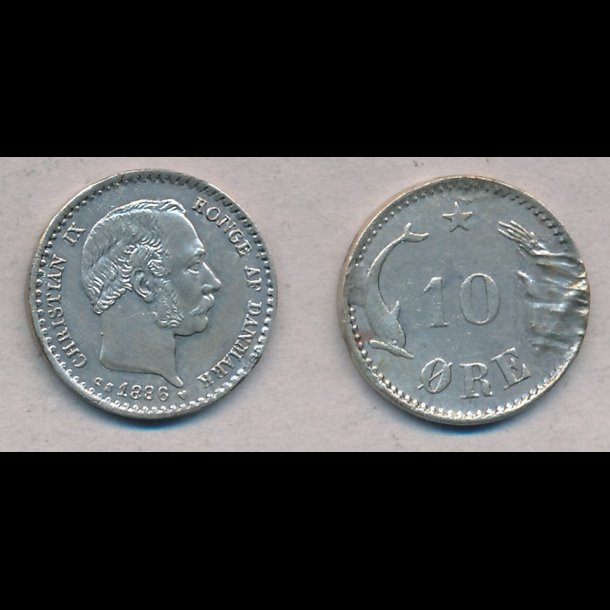 1886, Christian IX, 10 øre, sølv