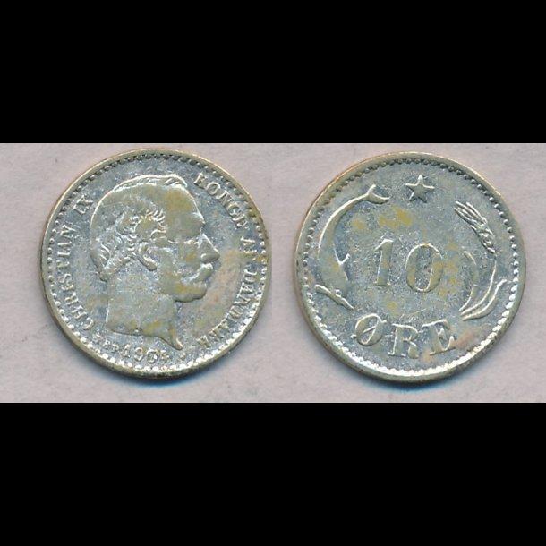 1904, Christian IX, 10 øre, sølv, lbnr1