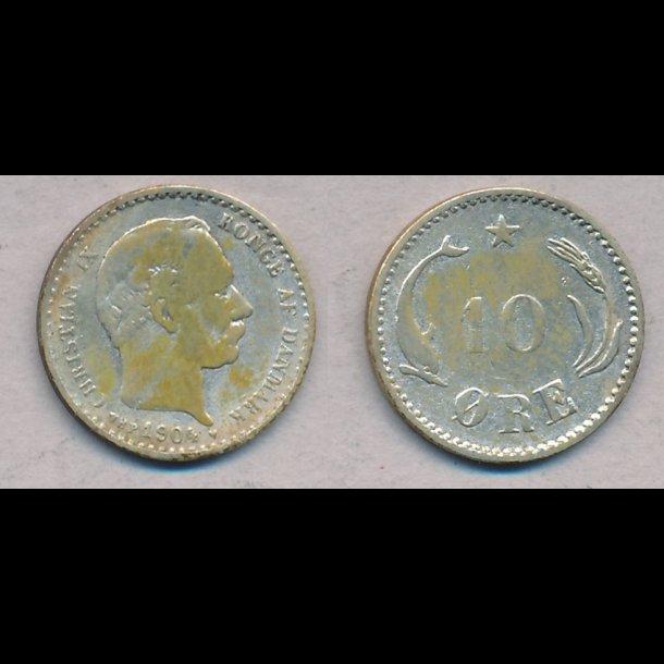 1904, Christian IX, 10 øre, sølv, lbnr2