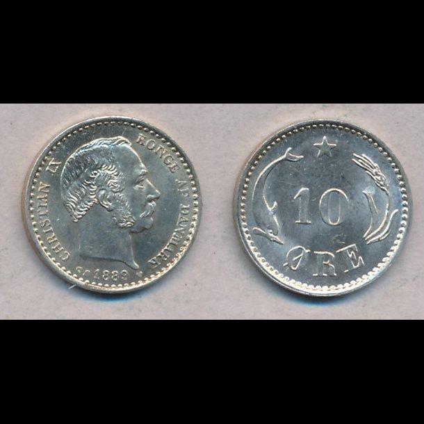 1889, Christian IX, 10 øre, sølv, 0