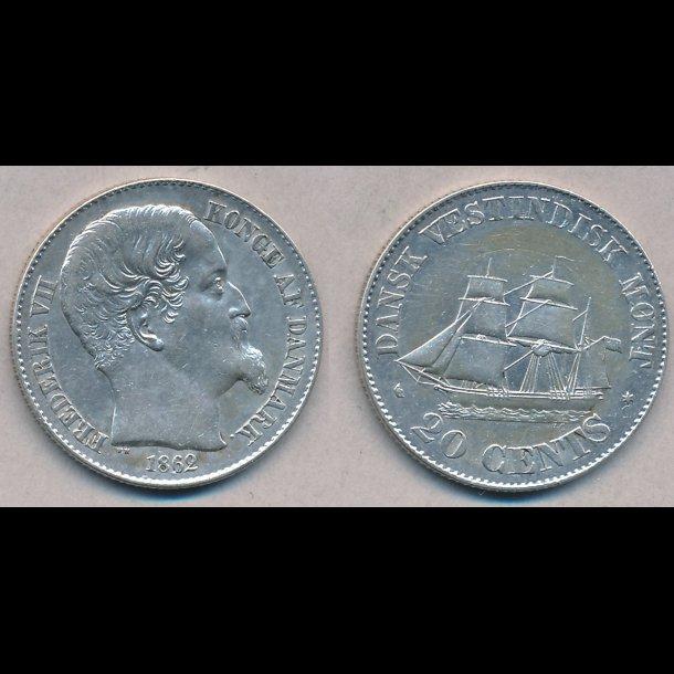 1862, Dansk Vestindien, Frederik VII, 20 cents, 1++