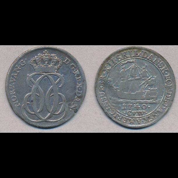 1740, Dansk Vestindien, Christian VI, 12 skilling, 1
