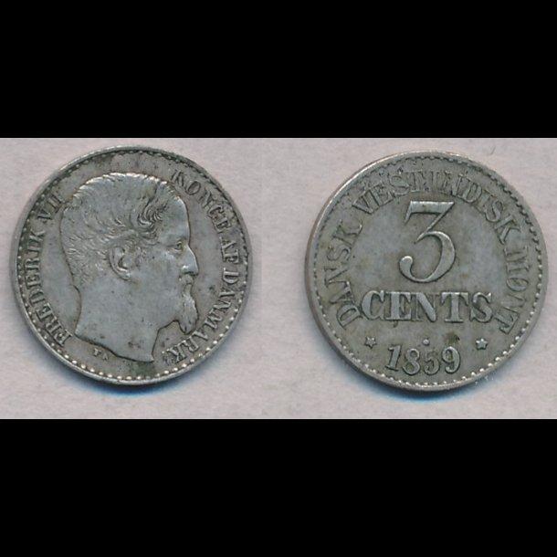 1859, Dansk Vestindien, Frederik VII, 3 cents, 1+, S16, H22