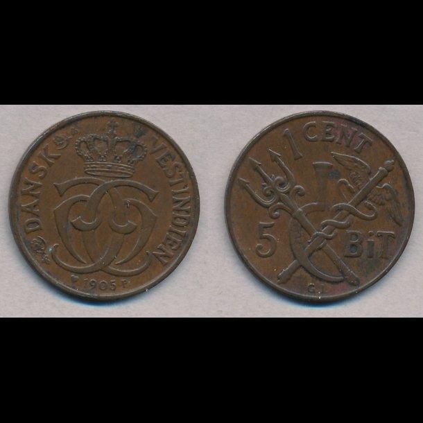1905, Dansk Vestindien, Christian IX, 1 cent, 5 bit, 1+, S25, H36