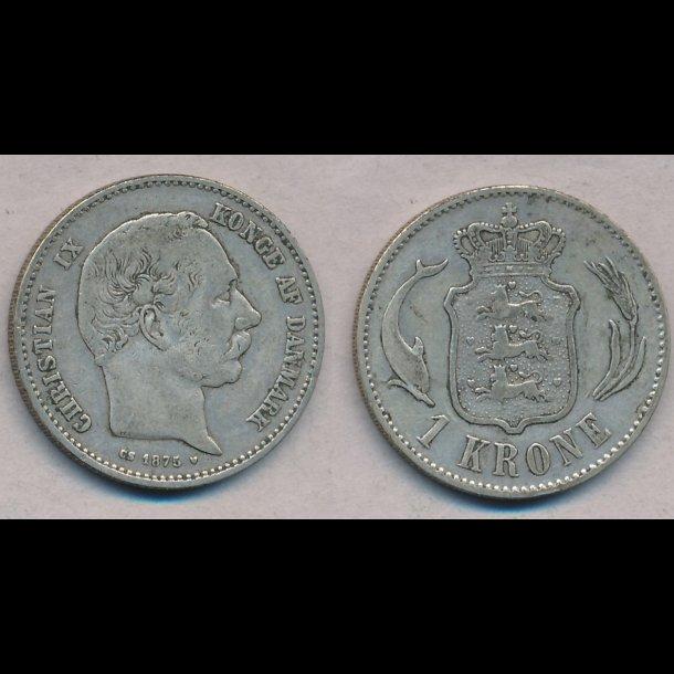 1875, Christian IX, 1 krone, sølv 1 krone,