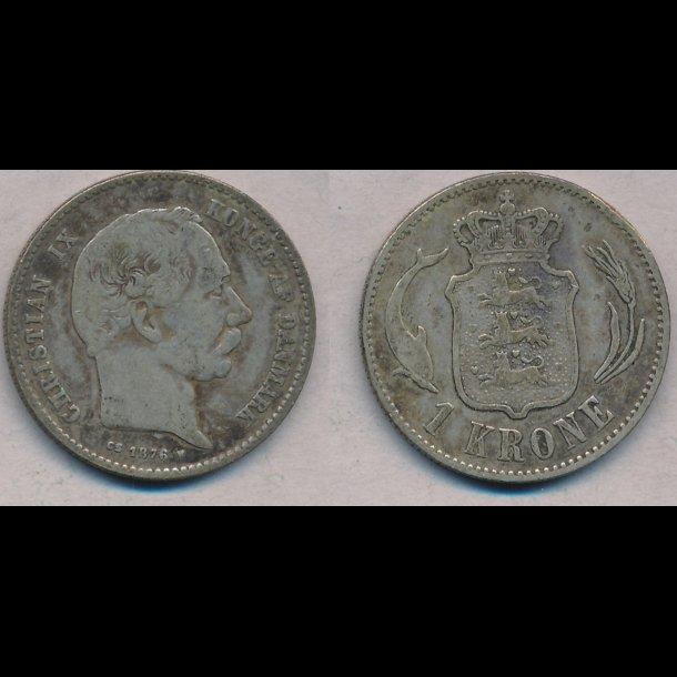 1876, Christian IX, 1 krone,