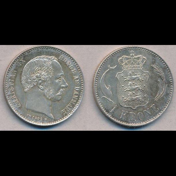 1892, Christian IX, 1 krone, 0 / 01, sølv en krone,