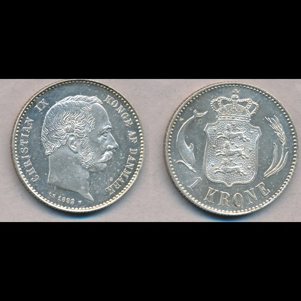 1892, Christian IX, 1 krone, M / 0