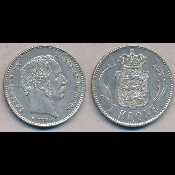 1892, Christian IX, 1 krone, 1+