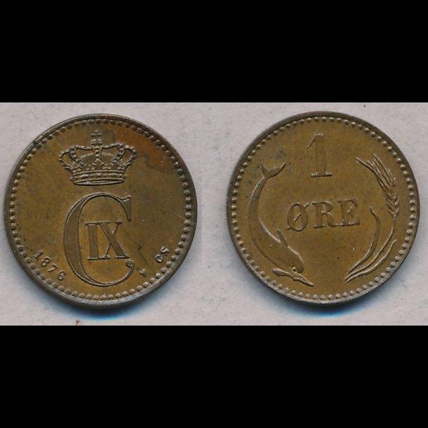 1876, Christian IX, 1 øre, 0
