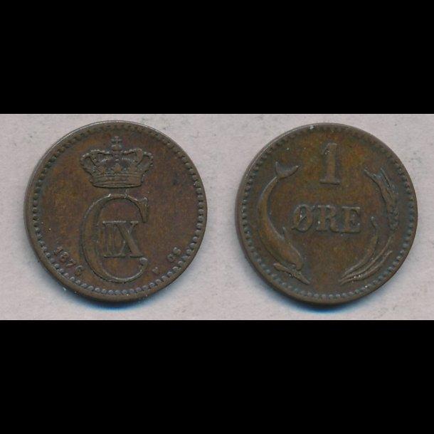 1876, Christian IX, 1 øre, 1+