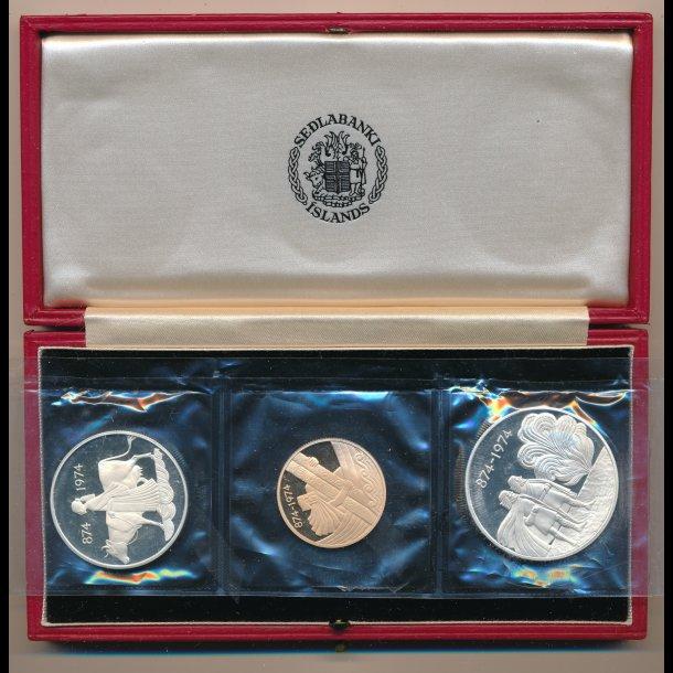 874-1974, Island, 500 og 1000 og 10.000 kronur, 1100-års jubilæum for bosætning, proof