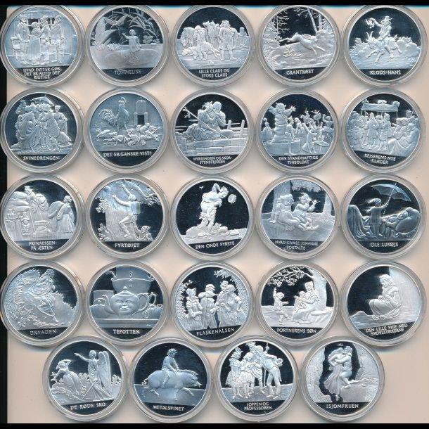 24 H. C. Andersen sølvmedaljer fra Mønthuset