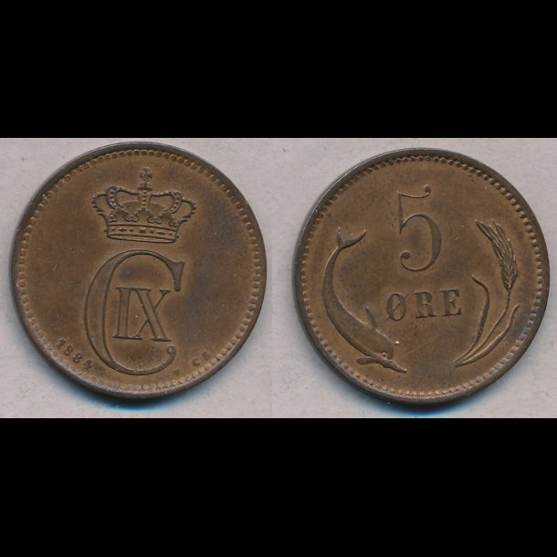 1884, Christian IX, 5 øre, 01