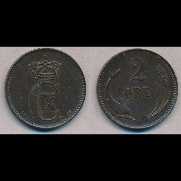 1887, Christian IX, 2 øre, 1++