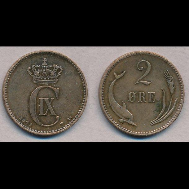 1892, Christian IX, 2 øre, 1+