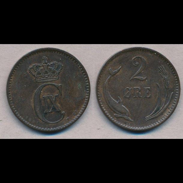 1881, Christian IX, 2 øre,  1+
