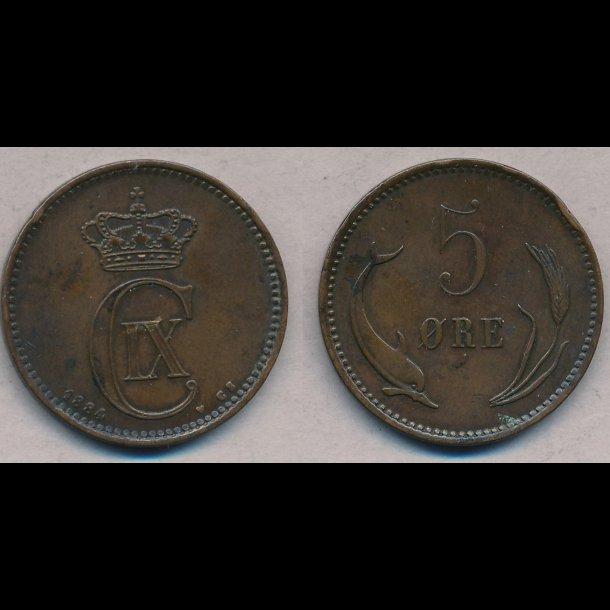 1884, Christian IX, 5 øre, 1+