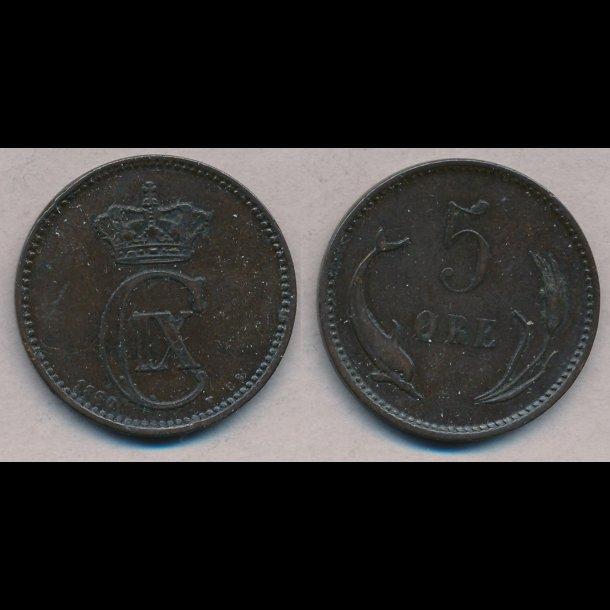 1890, Christian IX, 5 øre, 1+