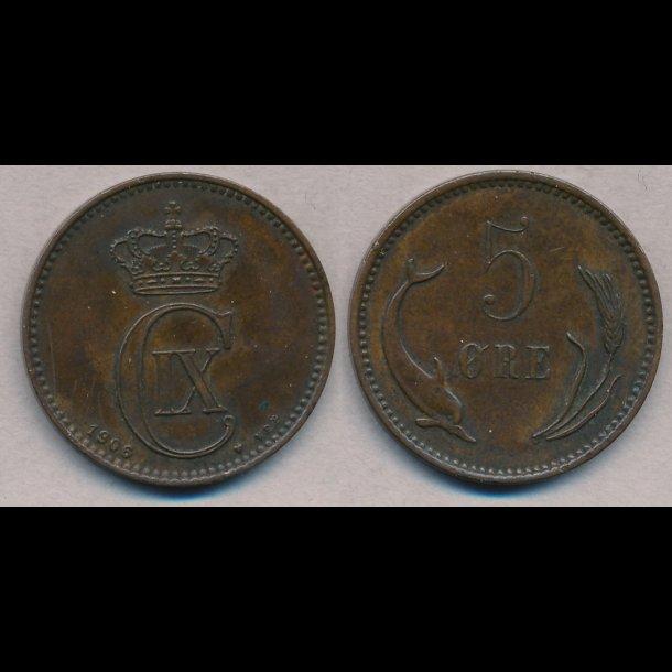 1906, 5 øre, 1+