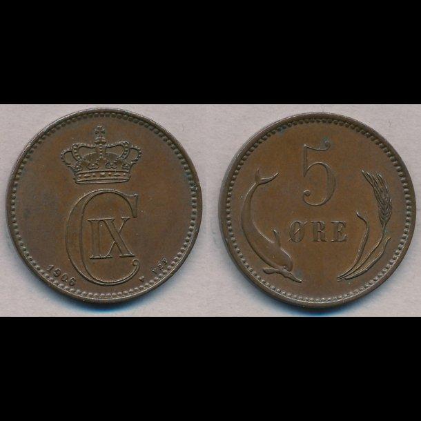 1906, Christian IX, 5 øre, 1+ / 01