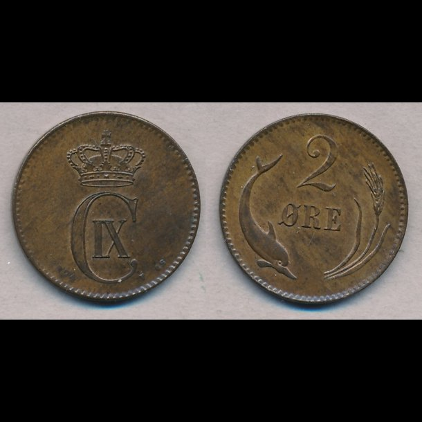 1874, Christian IX, 2 øre, 01 / 0