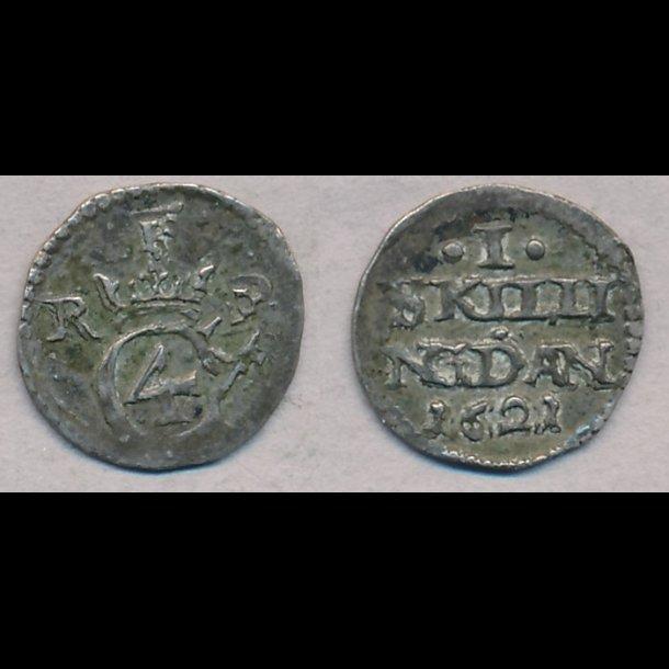 1621, Christian IV, 1 skilling, 1+, H119D