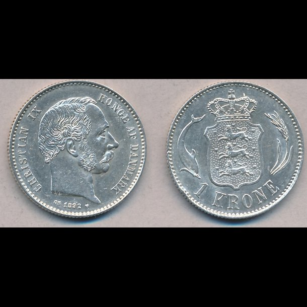 1892, Christian IX, 1 krone, 01