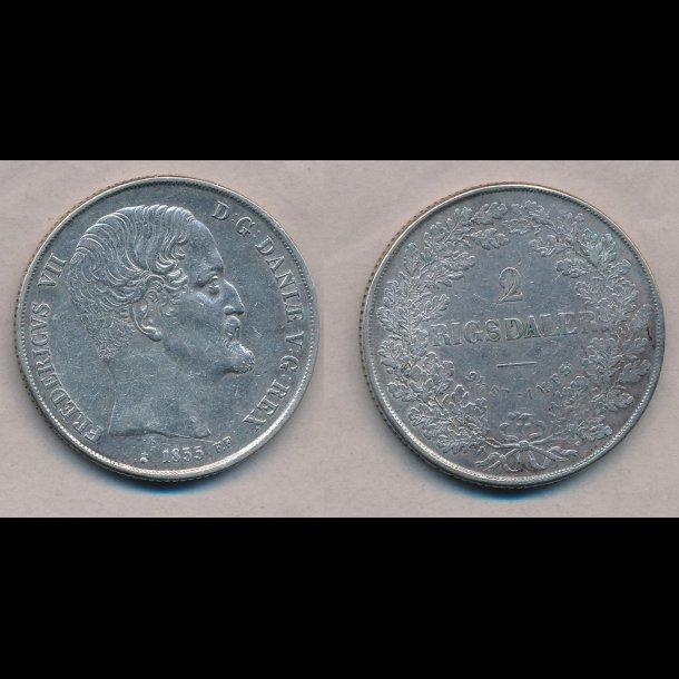 1855, Frederik VII, 2 Rigsdaler, FF, 1++, H6B