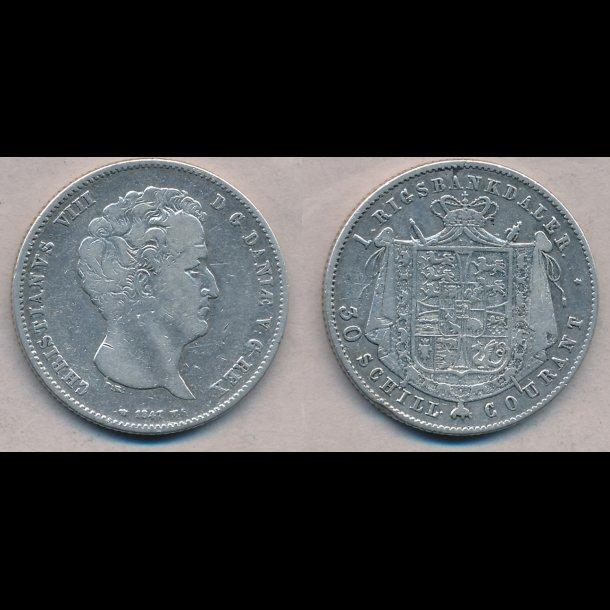 1847, VS, Christian VIII, 1 rigsbankdaler, 1 (+), H4A,