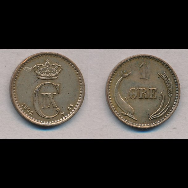 1892, Christian IX, 1 øre, 1+, lbnr 4
