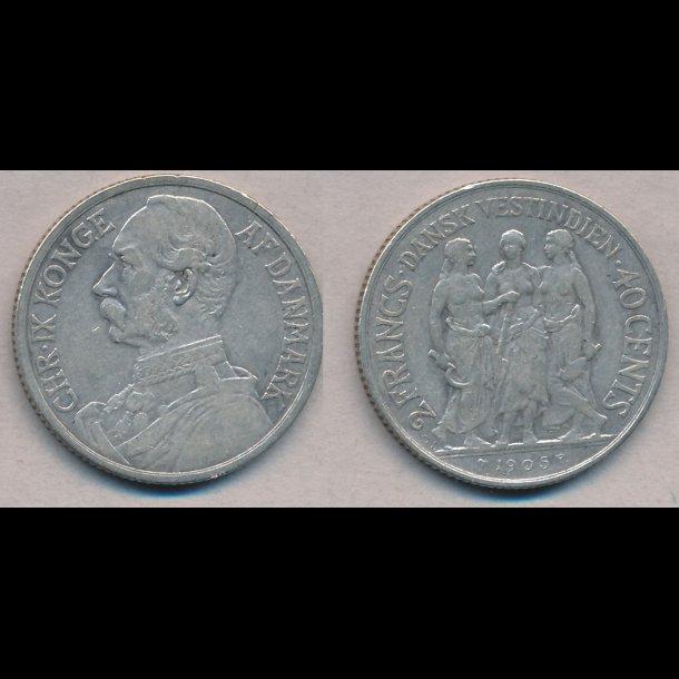 1905, Dansk Vestindien, Christian IX, 40 cents, 1