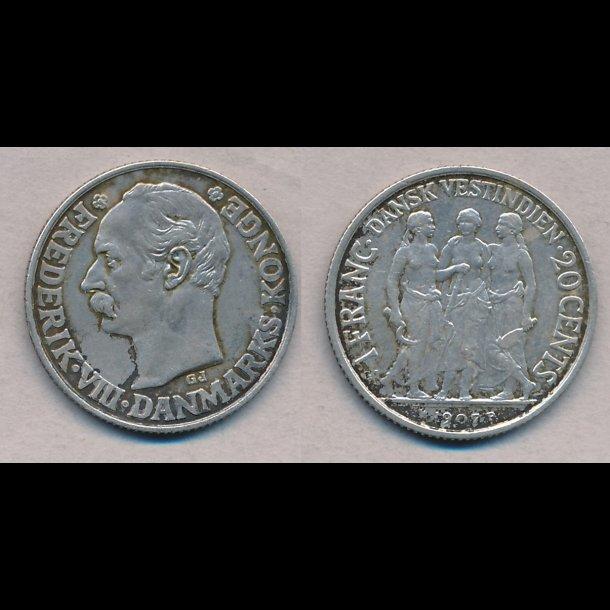 1907, Dansk Vestindien, Frederik VIII, 20 cents, 1 franc, 1+