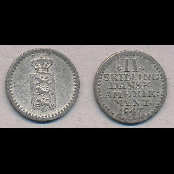 1847, Dansk Vestindien, Christian VIII, 2 skilling, 1+