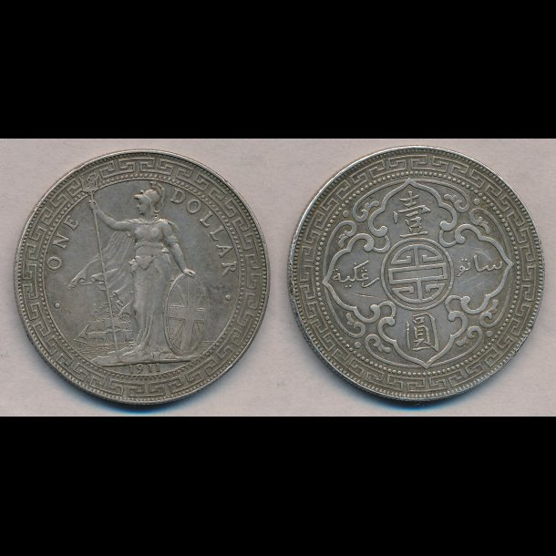 1911, England, 1 dollar, British trade dollar, Bombay