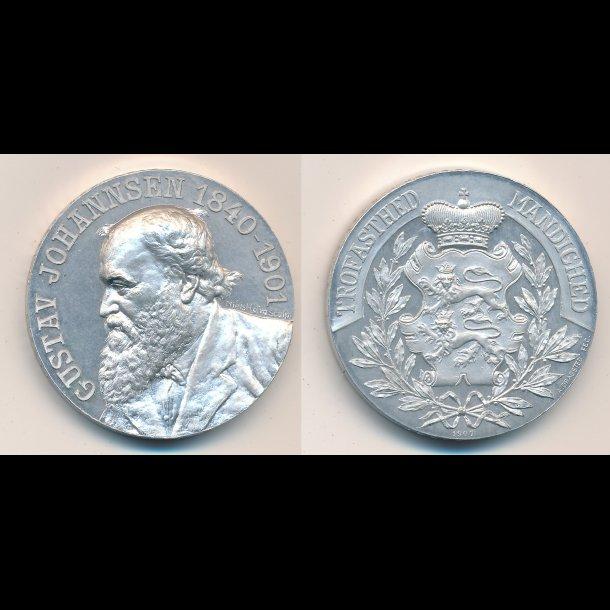 1907, Gustav Johannsen 1840-1901, tysk dansksindet lærer og journalist, aluminium,