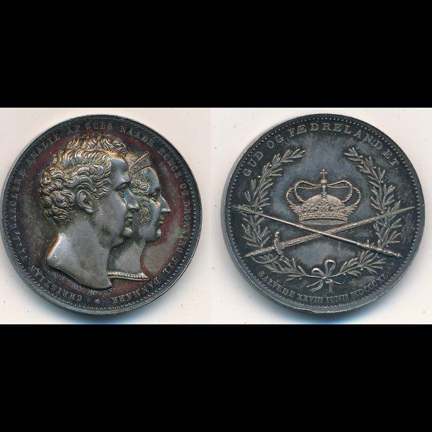 1840, Christian VIII og Dronning Caroline Amalie, sølv
