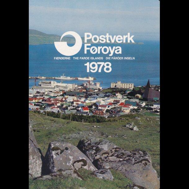 1978, Færøerne, årsmappe, postpris 18,80 kr,