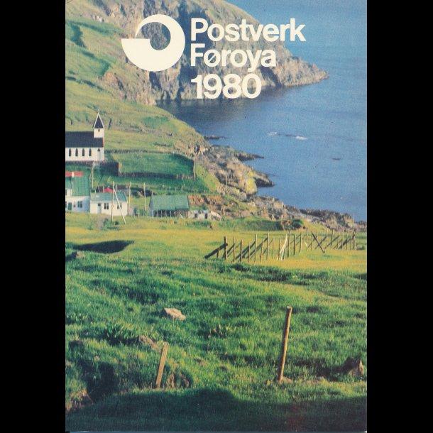 1980, Færøerne, årsmappe, postpris 19,00 kr,