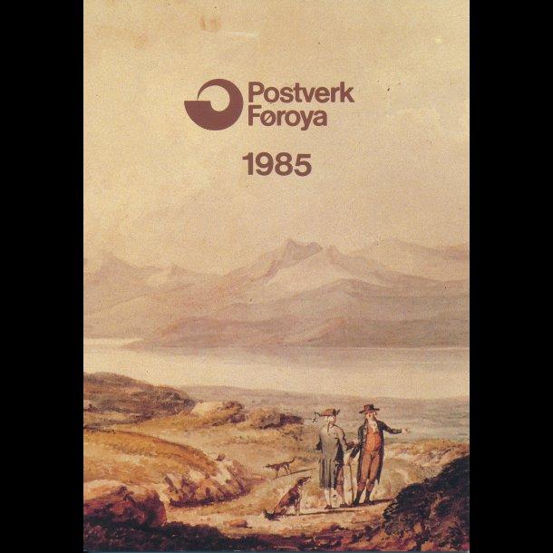 1985, Færøerne, årsmappe, postpris 69,00 kr,
