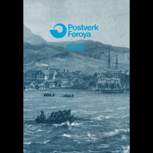 1986, Færøerne, årsmappe, postpris 79,60 kr,