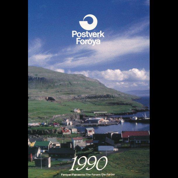 1990, Færøerne, årsmappe, postpris 77,90 kr,